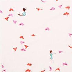Kinder und Vogel Stoff Michael Miller With The Birds