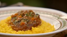 Jamie Oliver Osso bucco alla milanese braised veal shanks with yellow saffron risotto recipe on Jamie's Comfort Food