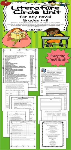 Literature Circles are fun.  Here's 52 pages of everything you'll need for grades 4-8. This Common Core aligned unit includes printables for packets, directions and advice for the teacher, project ideas, rubrics, posters, novel lists and reading levels, progress monitoring, and more.