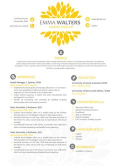 Chrysanthème jaune moderne bricolage Microsoft Word curriculum vitae modèle, modèle de CV Word, CV modèles, papier à en-tête, Emma Walters 01