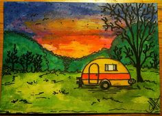 Perfect sunset-sharpie marker and Tim Holtz markers