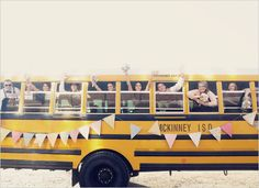 School Bus for Wedding Transportation: fun and cost-effetive or cheap and tacky? Anyone have an opinion? Rustic Wedding, Our Wedding, Wedding Bride, Teacher Wedding, Getting Baptized, Anthropologie Wedding, Wedding Transportation, Transportation Services, Bride Book