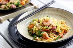 lumpiang hubad - Filipino inspired ground pork, shrimp, and vegetable stir-fry with noodles