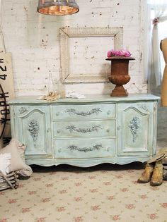 Painted Cottage Chic Shabby Aqua Server / by paintedcottages, $595.00