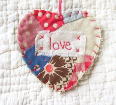 Heart Snippet Ornament - LOVE - Stitched From Recycled Vintage Quilt Piece
