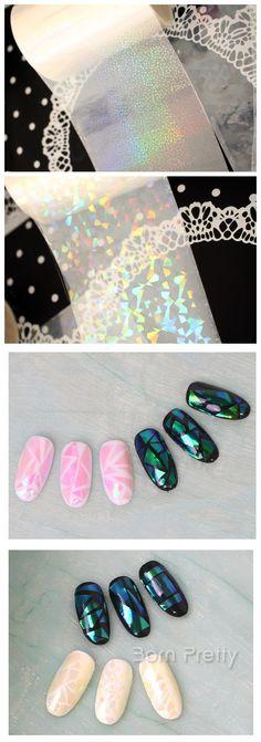 $2.45 Holographic Nail Foils Laser Holo Transfer Sticker Paper Sparkle Sticker Paper - BornPrettyStore.com