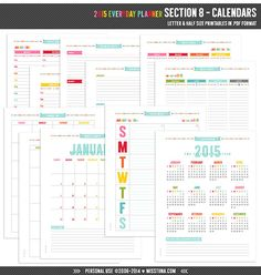 120 day calendar template - s1 celebrating everyday planner pages five sizes