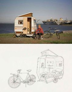 """Camper bike"" Mini mobile home for bikes by Kevin Cyr. Tiny Trailers, Vintage Trailers, Camper Trailers, Tiny Camper, Small Campers, Camper Life, Van Life, Eco Construction, Bike Motor"