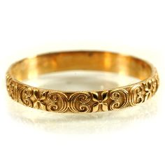 Gold Stackable Ring Flower Scroll Design In 10k By Celticeternity
