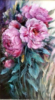 Composition d'une gerbe de pivoines oeuvre originale : Peintures par chrispaint-flowers