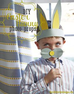 kid crafted Easter bunny photo props