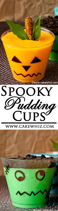 These easy SPOOKY PUDDINGS CUPS are the perfect Halloween treat for kids. You can use store-bought ingredients to make a Ghost, Monster, Jack O'Lantern, and Frankenstein. From cakewhiz.com