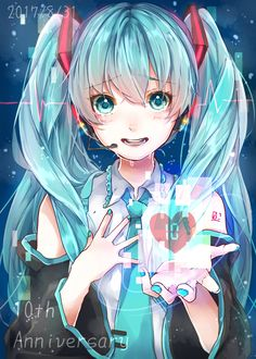 I'll give you my heart Anime Art Girl, Manga Girl, Anime Manga, Anime Girls, Kawaii Anime, Chibi, Vocaloid Characters, Miku Chan, Anime Kunst