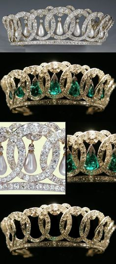 The Vladimir Tiara shown in three variations: with pendant pearls, emeralds, and without pendants. The emeralds are part of the Cambridge Emeralds collection, spare emeralds in the monarch's possession.