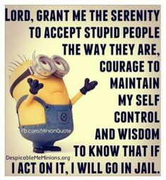 Funny Minion Pictures Below are some very funny minions memes, and funny quotes, i hope you will enjoy them at your best . and why not whatever minions do they always look funny and stupid . So make sure to share the best minions with your friends . Funny Minion Memes, Minions Quotes, Funny Jokes, Funny Sarcastic, Funny Sayings, Sarcastic Quotes, Minion Humor, Fun Funny, Super Funny