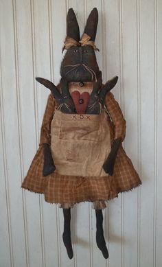 Primitive Grungy Momma Bunny Rabbit Doll w/ Her Baby Bunnies & Heart #NaivePrimitive