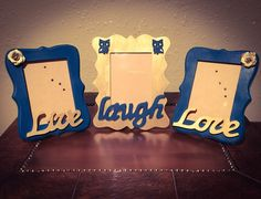 Live laugh love picture frame set! Customize your frames!! Home decor, picture frames, gold and teal      Etsy shop https://www.etsy.com/listing/459910512/painted-picture-frames-decorated-frames