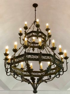 Single, Double or Triple tier. We can custom this chandelier to fit your specs. Fine Wrought Iron Lighting at it's finest! Wrought Iron Light Fixtures, Wrought Iron Decor, Wrought Iron Chandeliers, Rustic Light Fixtures, Chandelier In Living Room, Rustic Chandelier, Rustic Lighting, Outdoor Lighting, Tudor Decor
