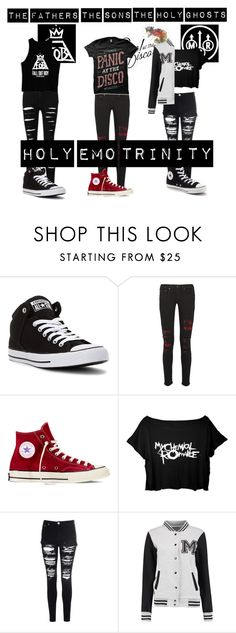 """Icon set for my upcoming contest: The Holy Emo Trinity"" by yellowpika-san ❤ liked on Polyvore featuring Converse, rag & bone and Glamorous"