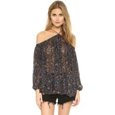 Zimmermann Havoc Suspend Top (3 880 SEK) ❤ liked on Polyvore featuring tops, blouses, paisley, sheer top, metallic top, blouson top, off shoulder blouse and transparent blouse