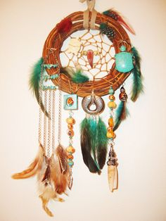 Multi Feather, Charm, Turquoise, Coral, Turtle, Agate, Bone, Shell Dream Catcher www.extravagantdesigns.etsy.com
