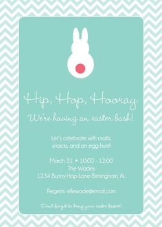 Bunny Easter Invite by thepinwheelpress on Etsy, $15.00