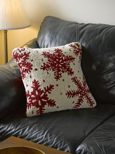 """White Snowflake Pillow, 18"""""""