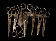 A selection of old and handmade scissors. I love these old shears. Do you see the frog legs?