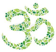 Green Floral Om Symbol Royalty Free Stock Vector Art Illustration