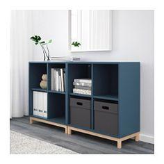 IKEA - EKET, Schrankkombination/Untergestell, dunkelblau, , Durch Kombination von offener und geschlossener Aufbewahrung lässt sich Dekoratives und Nützliches nach Bedarf zeigen oder verbergen.Dank des integrierten Drucköffners lassen sich die Schubladen mit einem leichten Druck öffnen.