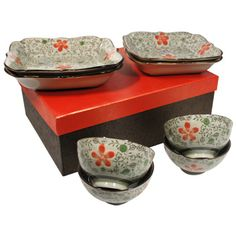 Black And Red Sushi Set Japanese Dinnerware Fused