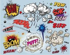another gift of the English language - onomatopoeia, could be used in combination with manga