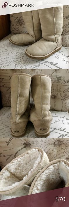 Ugg boots tall classic sand good condition lots of wear left in these gems UGG Shoes Ankle Boots & Booties