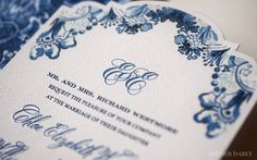 Blue and White Baroque China Wedding Invitation by Atelier Isabey, via Behance