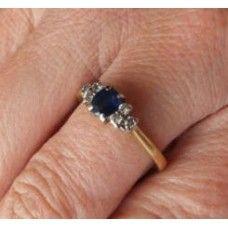 Ring saffier/ diamant nr,5211