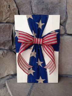 Rustic Americana Burlap Cross Wood Sign Wall by simpleandsage