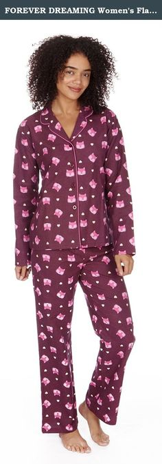 FOREVER DREAMING Women's Flannel Cotton Button Down Pajama Set. Looking for a set of pajamas that will keep you lovely and warm through out the cold winter months? Look no further now that you've discovered our beautiful ladies long sleeve flannel cotton novelty pajama set! Once these pj's arrive in the mail you will be counting down the interminable minutes until you can try them on for the first time and experience the soft cotton against your skin. Features 2 designs with an all-over...