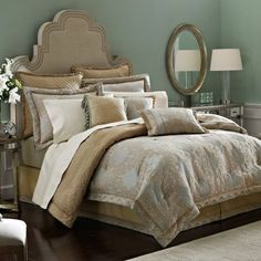 Comforters and duvets in king, queen, full and twin sizes from name brands like Croscill and Jennifer Taylor. Gold Bedding Sets, Full Comforter Sets, Queen Bedding Sets, Blue Bedding, Duvet, Cheap Linens, Cal King Bedding, California King Bedding, Houses