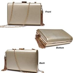 Women's Bags, Clutches & Evening Bags, Leather Evening Clutches Handbag Bridal Purse Party Bags For Prom Cocktail Wedding Women/Girls - Gold - Evening Bags, Evening Clutches, Handbags Michael Kors, Tote Handbags, Black Luxury, Gold Price, Black Tote Bag, Party Bags, Luxury Handbags