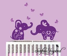 Children Wall Decals Nursery Baby Elephants Vinyl Wall Decals- surfaceinspired etsy page