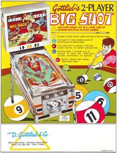 BIG SHOT By GOTTLIEB 1974 ORIGINAL NOS PINBALL MACHINE PROMO SALES FLYER #pinball #gottlieb