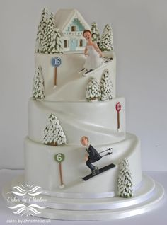 Skiing wedding cake - Cake by Cakes by Christine