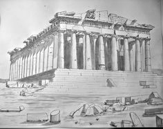 A drawing/study of the Parthenon. Sketch Tattoo Design, Tattoo Sketches, Drawing Sketches, Greece Drawing, Drawing Studies, Parthenon, Mixed Media Canvas, Athens, Rome