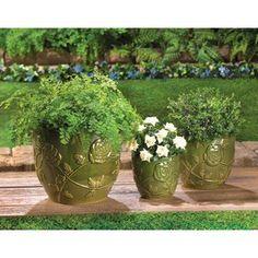 Set Of 3 Green Glazed Garden Pots  $69.95