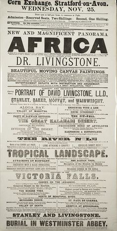 New and Magnificent Panorama of Africa., Printed broadside advertising an illustrated lecture. French West Africa, German East Africa, North Africa, Congo Free State, Equatorial Africa, David Livingstone, Sword Of The Spirit, African History, Creative Inspiration