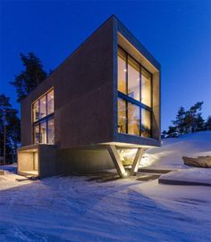 Located in the Turku Archipelago in Finland, this 230 square meters big concrete house rises up from the nature, adapting same time to the surrounding rocks and Exterior Design, Interior And Exterior, Big Windows, Architecture Design, Concrete, Around The Worlds, Mansions, House Styles, Building