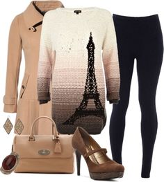 """""""Give Paris A Chance"""" by jafashions on Polyvore with Black and Cream Eiffel Tower Sweater, Tan (Camel) Trenchcoat, black skinny jeans (or pants?) with tan purse and brown heels"""