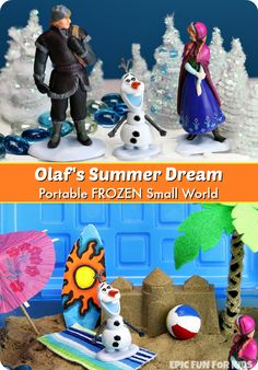 Olaf's Summer Dream: a portable, two-level small world and sensory bin inspired by 'In Summer' from Disney's FROZEN.