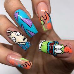 Disney Acrylic Nails, Disney Nails, Best Acrylic Nails, Funky Nails, My Nails, Cartoon Nail Designs, Beauty Hacks Nails, Fire Nails, Luxury Nails