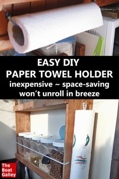 """The perfect paper towel holder anywhere a breeze can blow in through the window.  Cheap, easy and solves paper towels """"blowing in the wind."""" via @TheBoatGalley"""